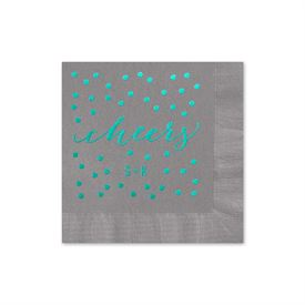 Cheers - Pewter - Foil Cocktail Napkin