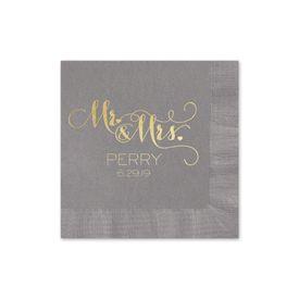 Mr. and Mrs. - Pewter - Foil Cocktail Napkin