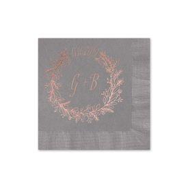 Wreath Frame - Pewter - Foil Cocktail Napkin