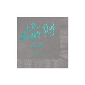 Oh Happy Day - Pewter - Foil Cocktail Napkin