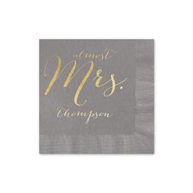 Almost Mrs. - Pewter - Foil Cocktail Napkin