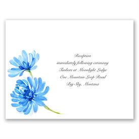 Watercolor Peony - Blue - Reception Card