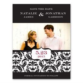 Save the Date Magnets: Band of Damask Photo Save the Date Card
