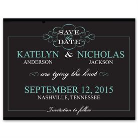 Simple Save The Dates: Flourishing Typography Photo Save the Date Card