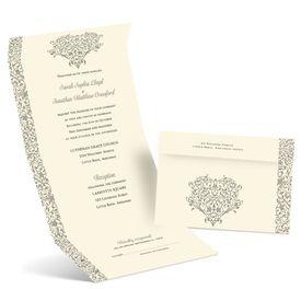 Vintage Heart - Ecru - Seal and Send Invitation