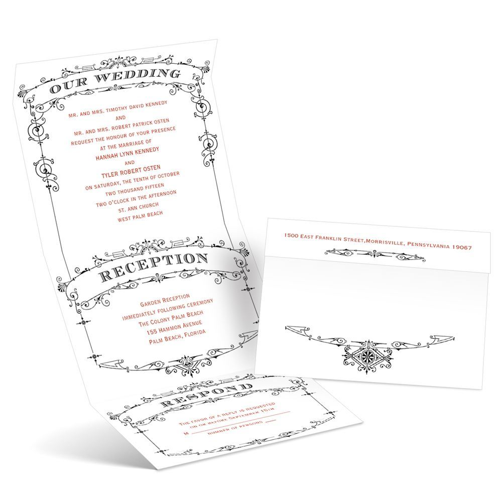 Wedding Playbill Seal and Send Invitation | Ann\'s Bridal Bargains