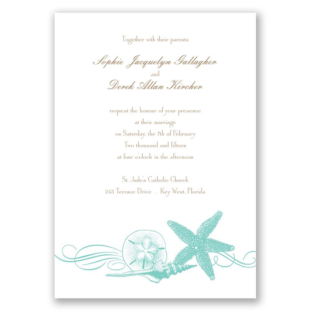 starfish and seashells invitation
