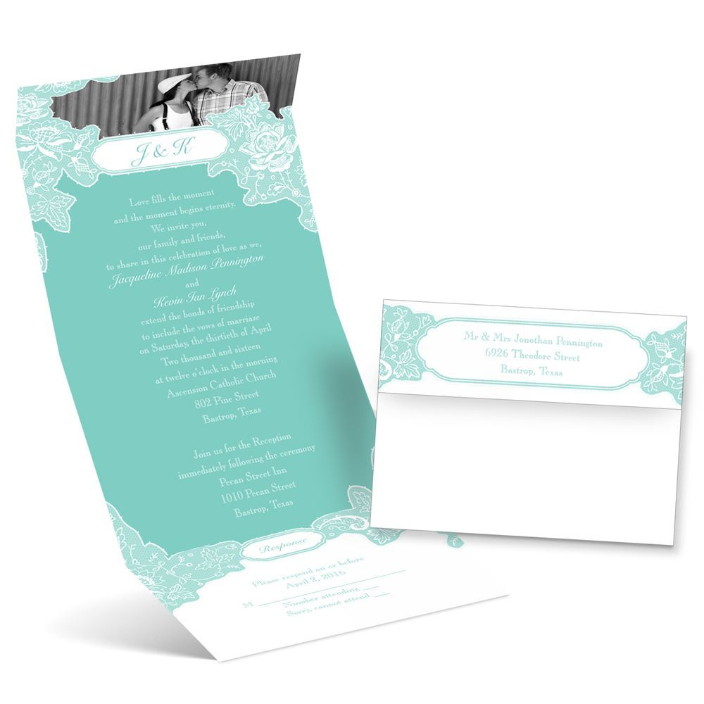Romantic Wedding Invitation Wording: Romantic Details Photo Invitation