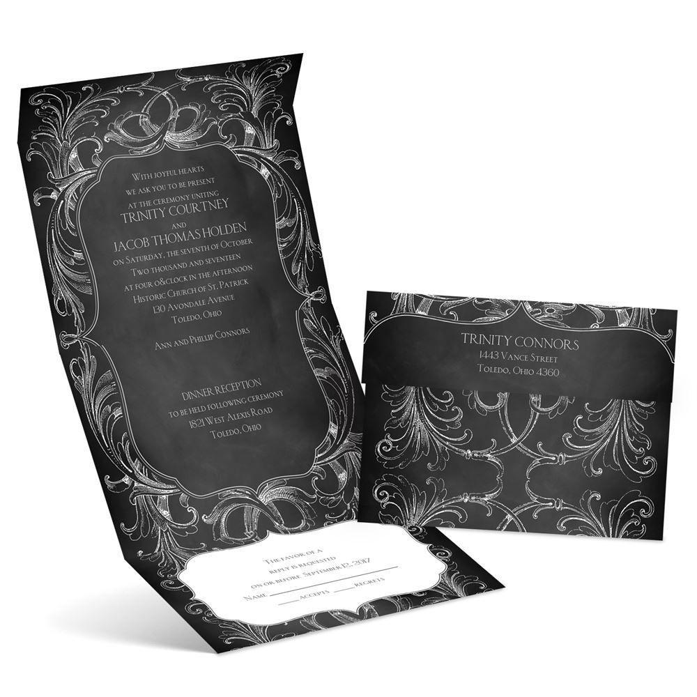 Cheap Send And Seal Wedding Invitations: Chalkboard Flourish Seal And Send Invitation
