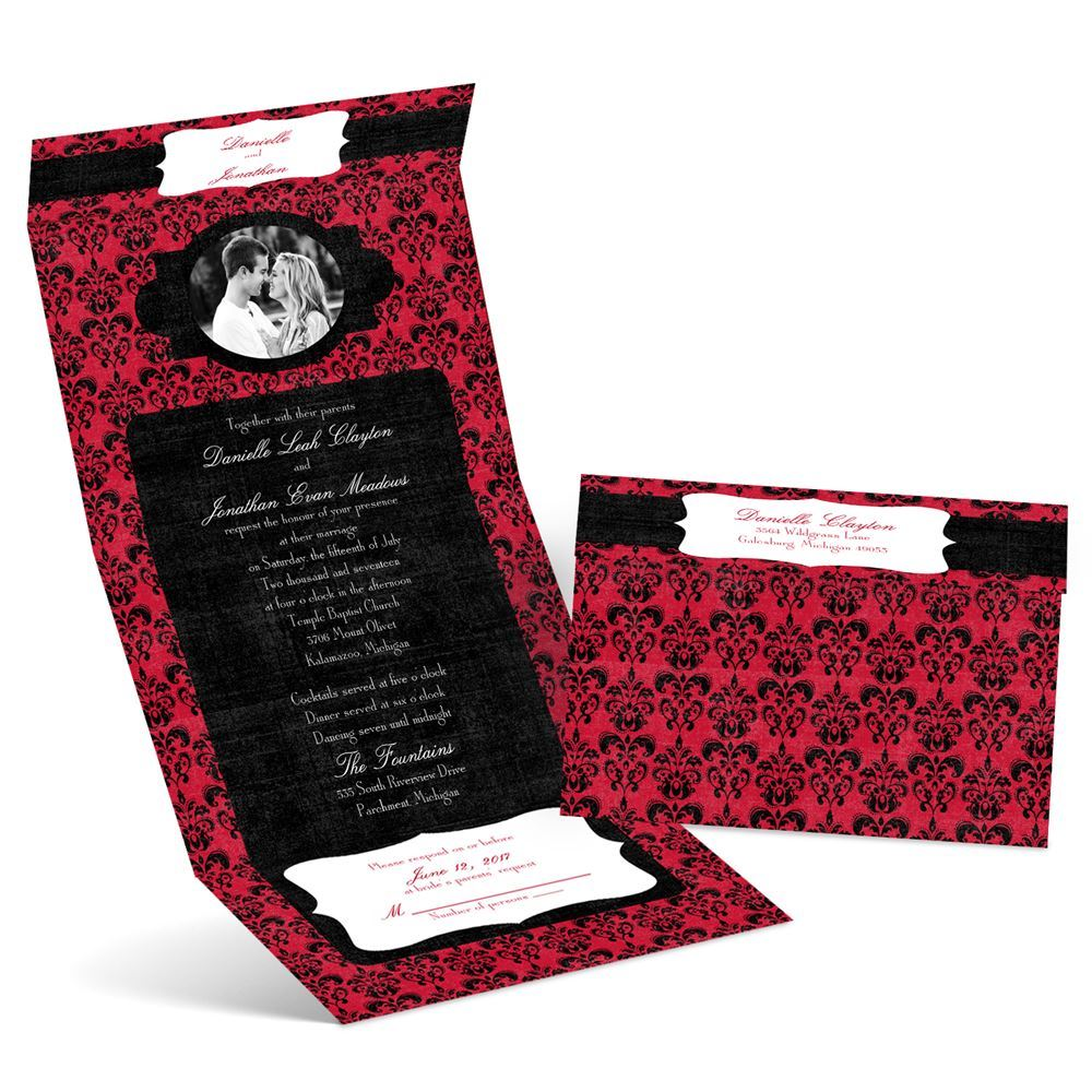 Distressed Damask Seal and Send Invitation | Ann\'s Bridal Bargains