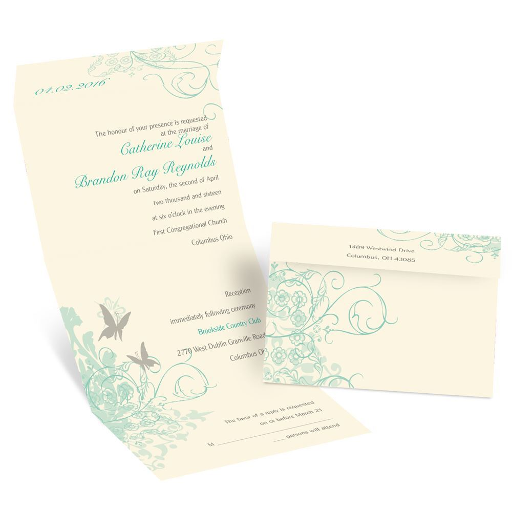 Butterflies Seal and Send Invitation   Ann\'s Bridal Bargains