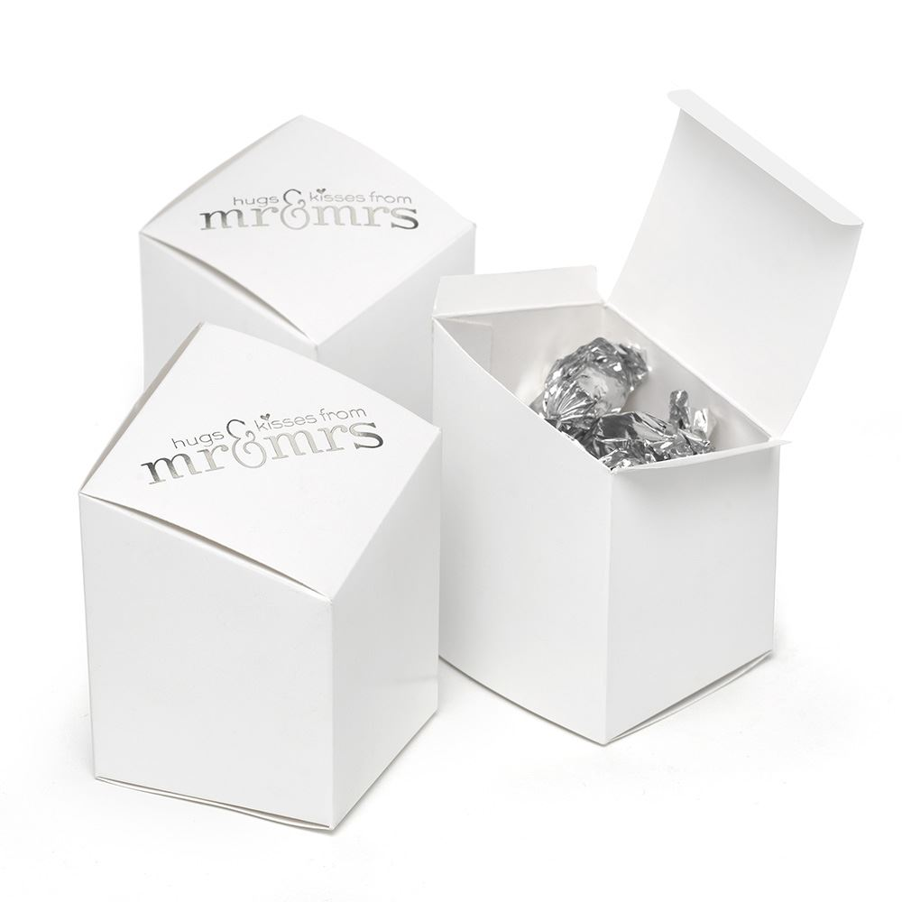 Mr. and Mrs. Prism Favor Boxes White | Ann\'s Bridal Bargains