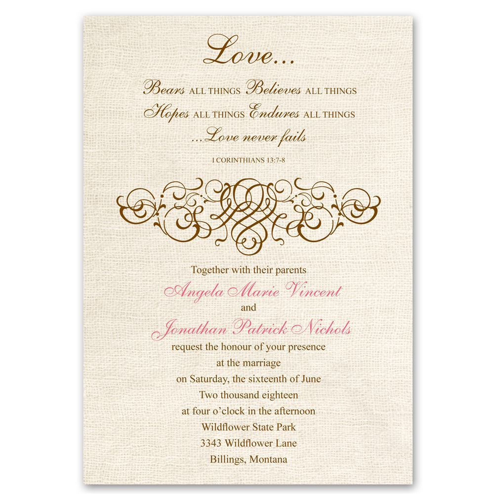 Words For Wedding Invites: Rustic Love Invitation