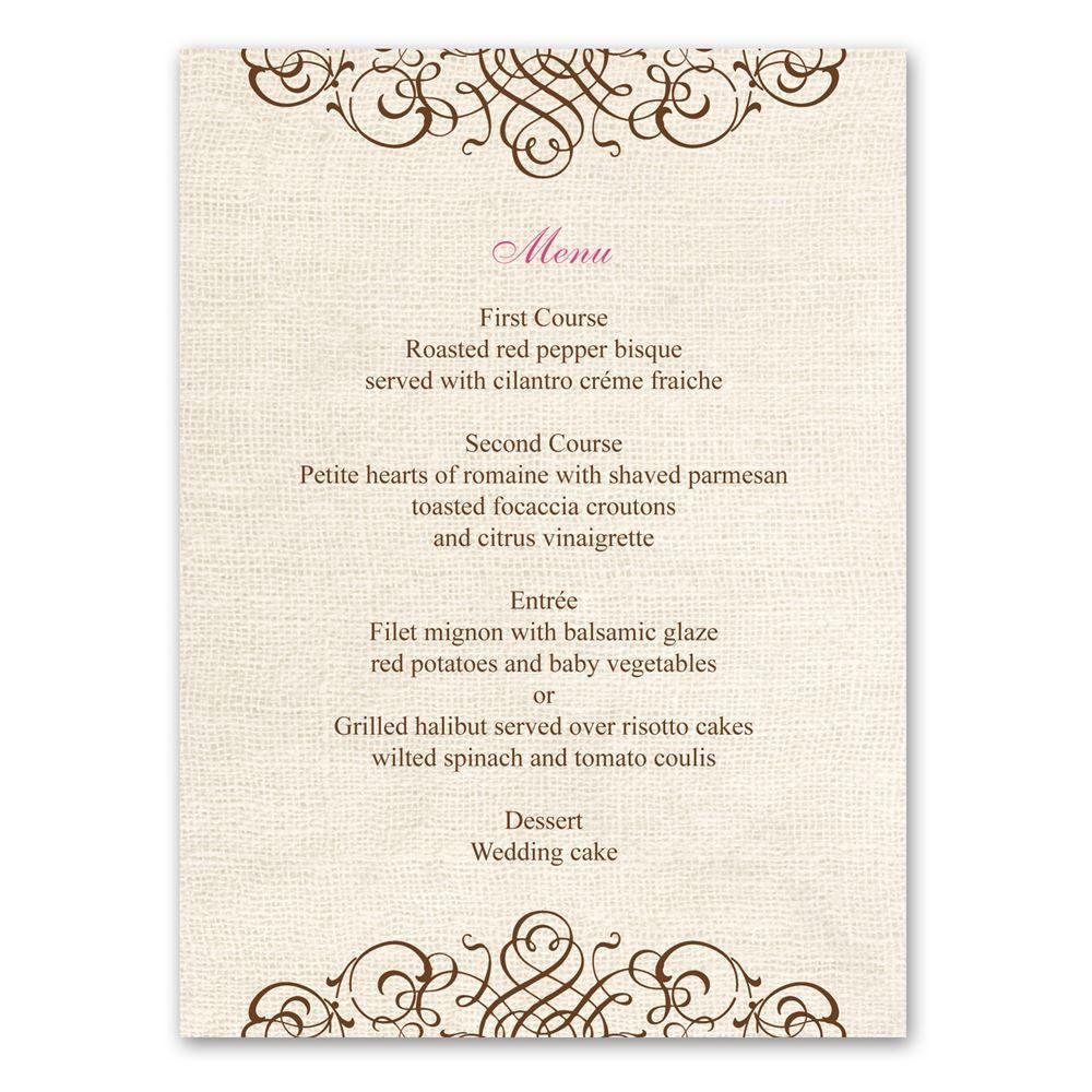 Menu Cards For Wedding Receptions: Ann's Bridal Bargains