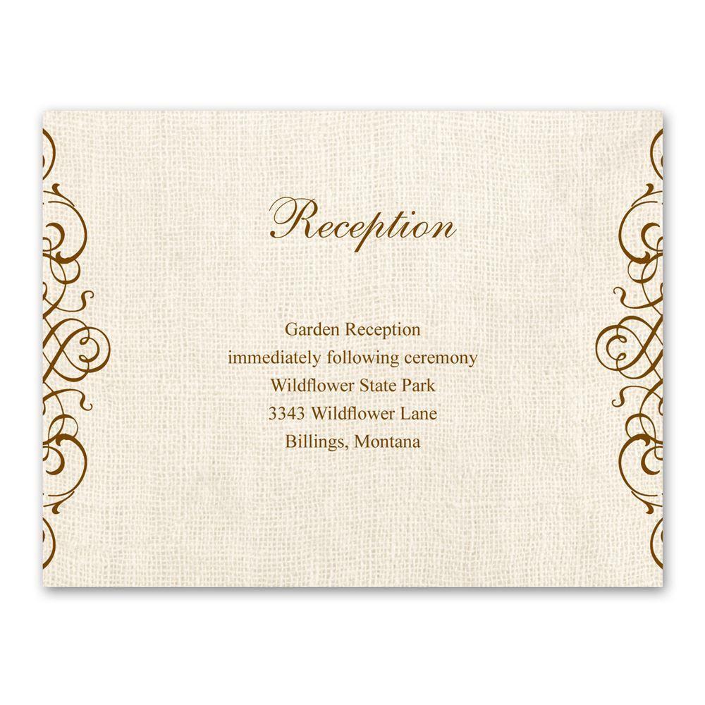 rustic love reception card  ann's bridal bargains