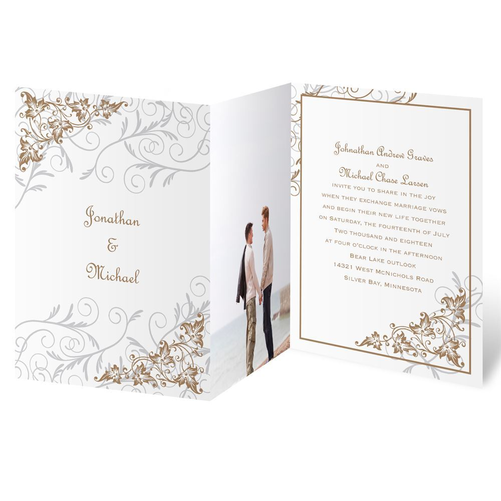 Filigree Leaves Photo Invitation Anns Bridal Bargains