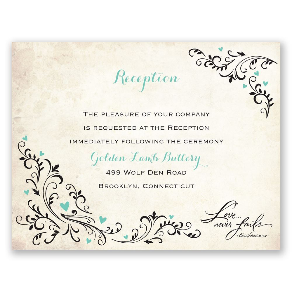 blossoming love reception card ann39s bridal bargains With images of wedding reception cards