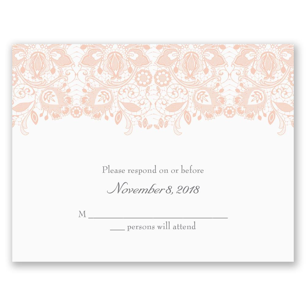 Wedding Invitation Response Cards: Lacy Romance Response Card