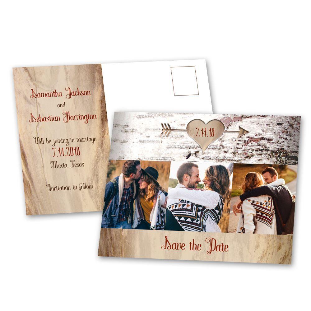 aged birch save the date postcard ann s bridal bargains