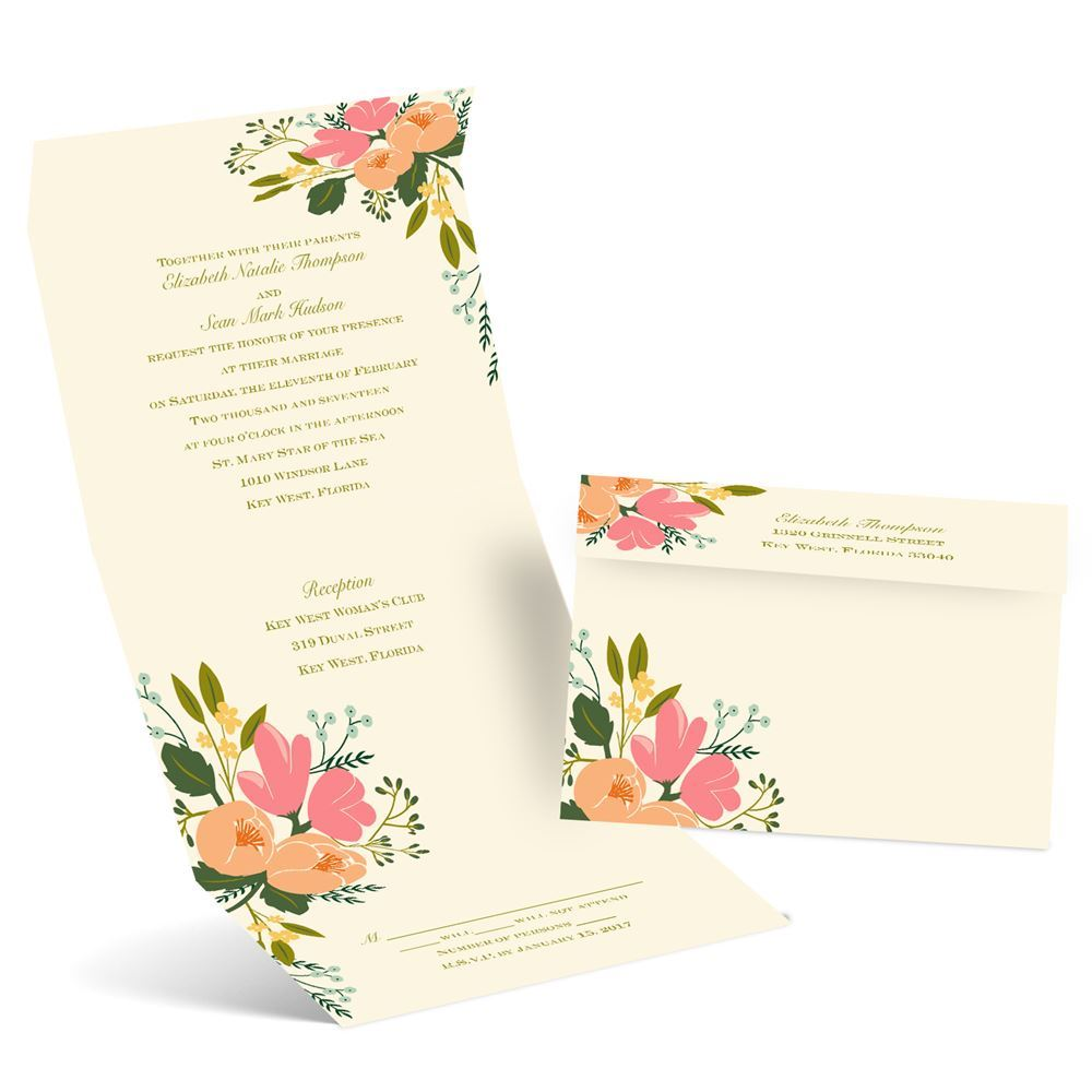 Cost Of Mailing Wedding Invitations: Painted Petals Seal And Send Invitation