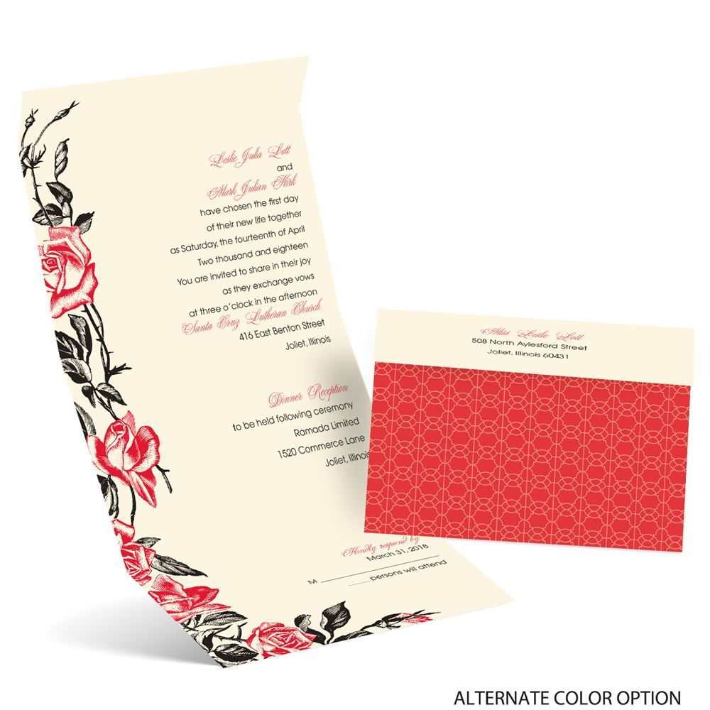 Rose Impression Seal and Send Invitation | Ann\'s Bridal Bargains