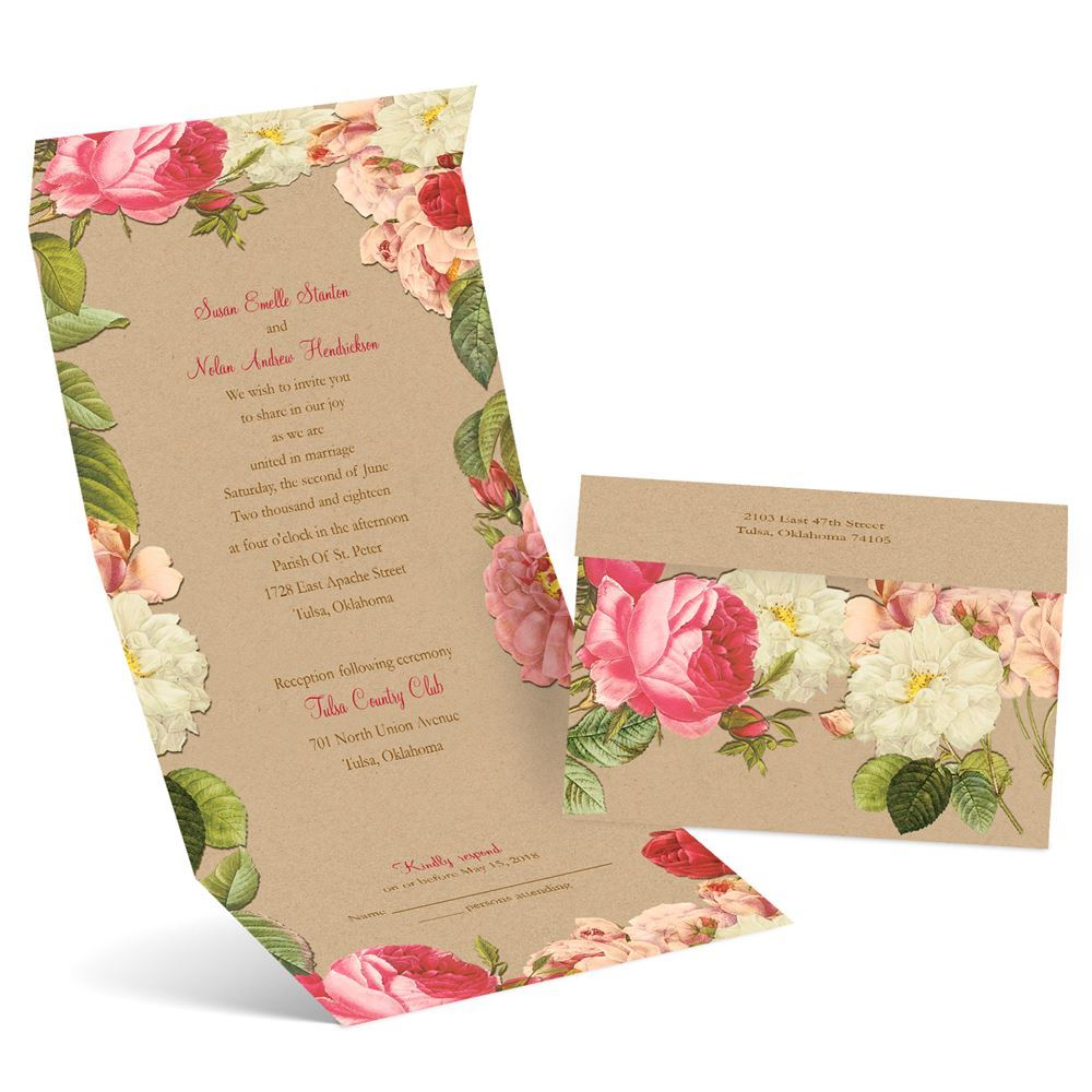 Cost Of Mailing Wedding Invitations: Vintage Blooms Seal And Send Invitation