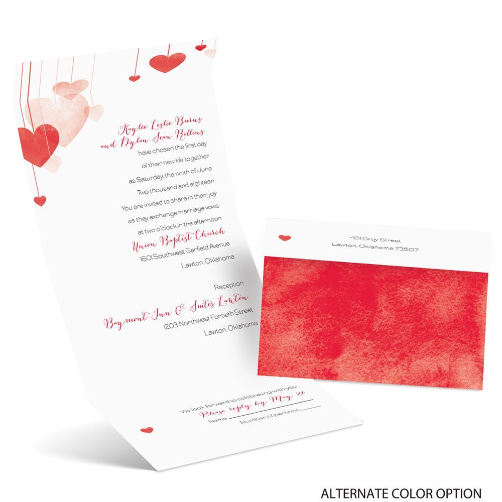 Suspended Hearts Seal and Send Invitation | Ann\'s Bridal Bargains