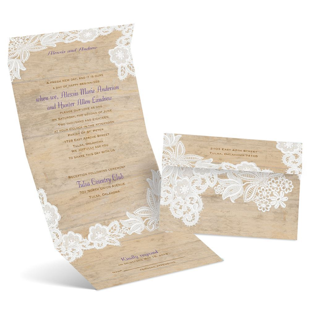 Vintage Country Seal and Send Invitation | Ann\'s Bridal Bargains