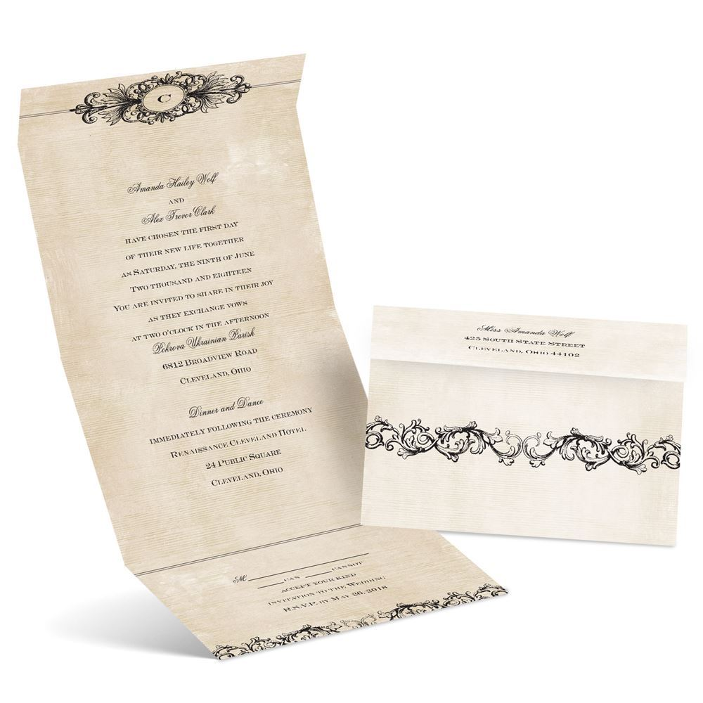 Rustic Elegance Seal And Send Invitation