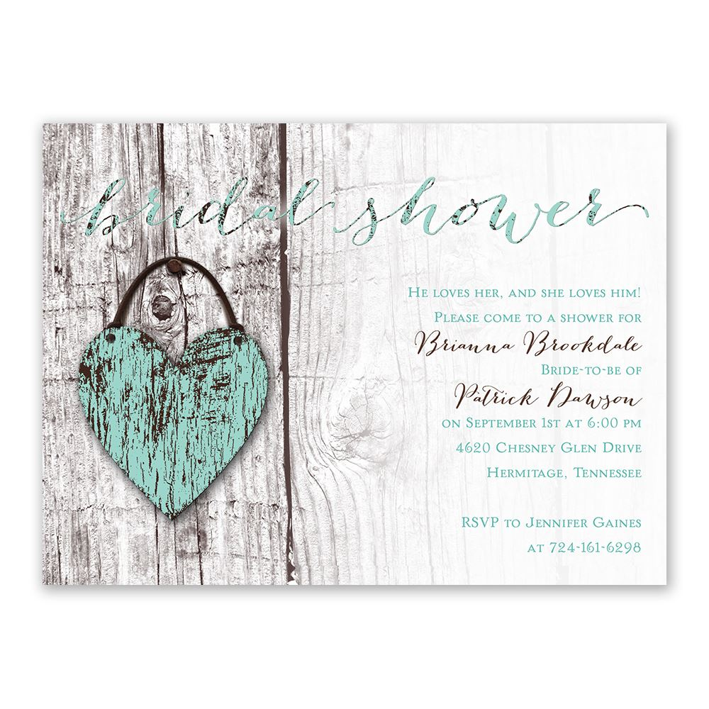 Wood Heart Bridal Shower Invitation | Ann\'s Bridal Bargains