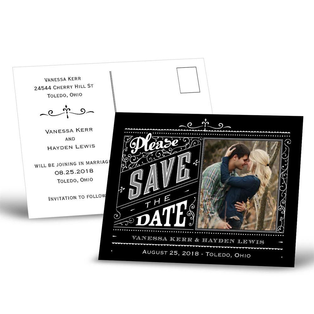 pretty please save the date postcard