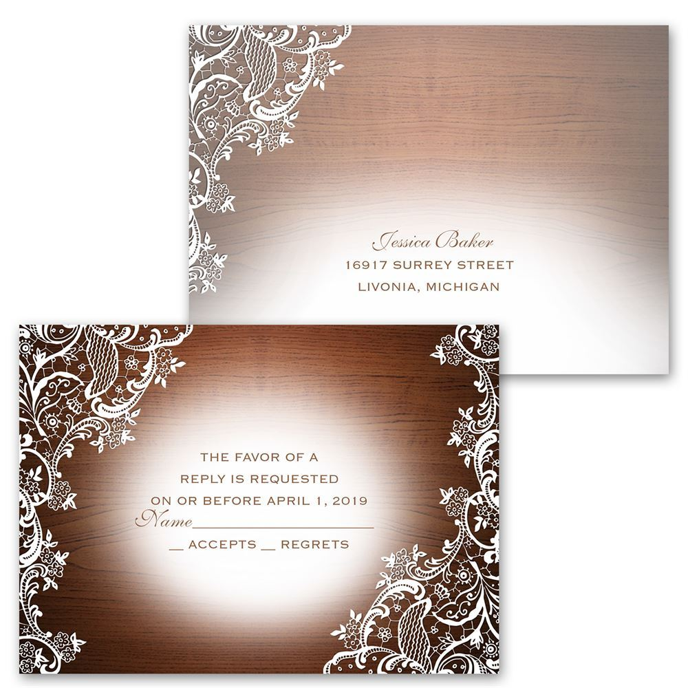 Lace Corners Invitation with Free Response Postcard – Discount Wedding Invitations with Free Response Cards