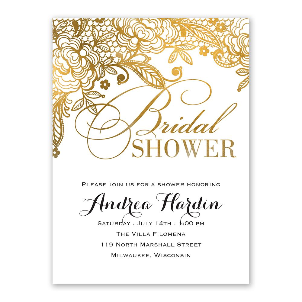 gold lace bridal shower invitation ann 39 s bridal bargains. Black Bedroom Furniture Sets. Home Design Ideas