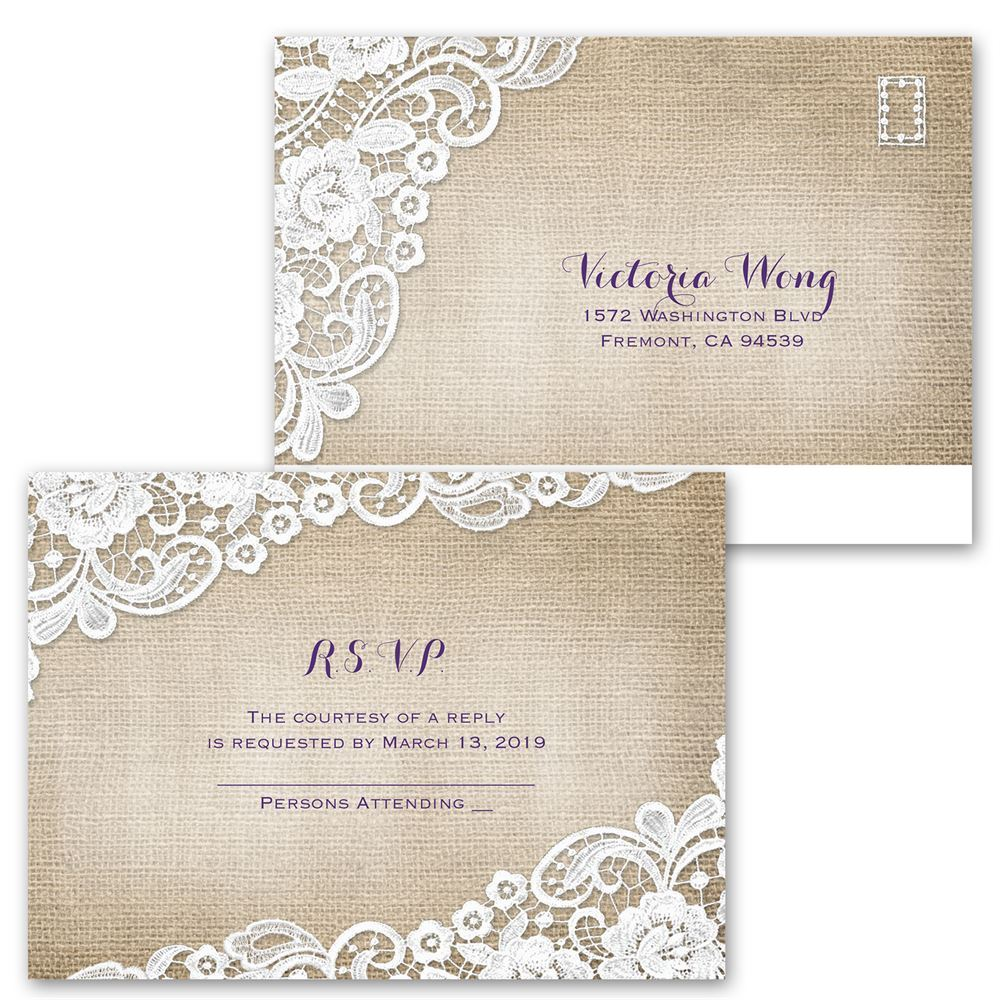 Burlap and Lace Frame Invitation with Free Response ...