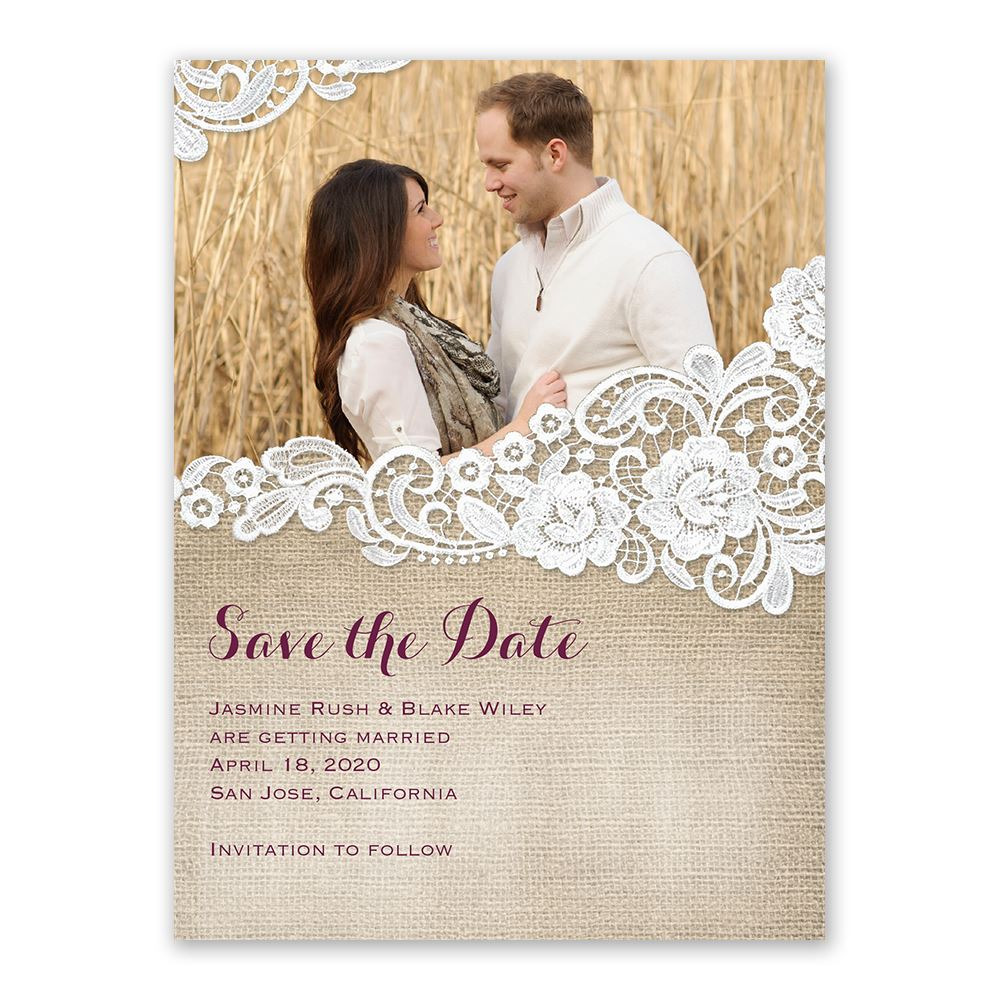 Burlap And Lace Save The Date Card Ann S Bridal Bargains
