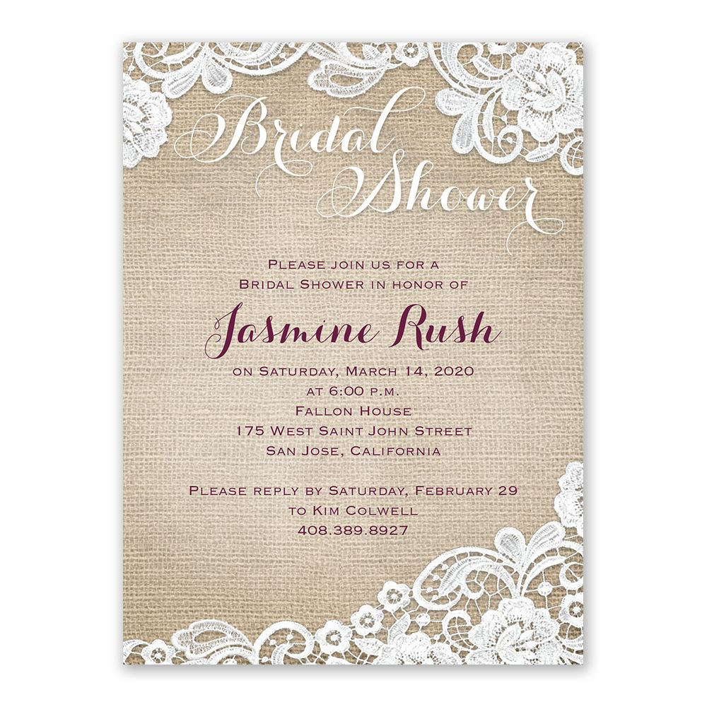 Burlap and Lace Bridal Shower Invitation | Ann\'s Bridal Bargains