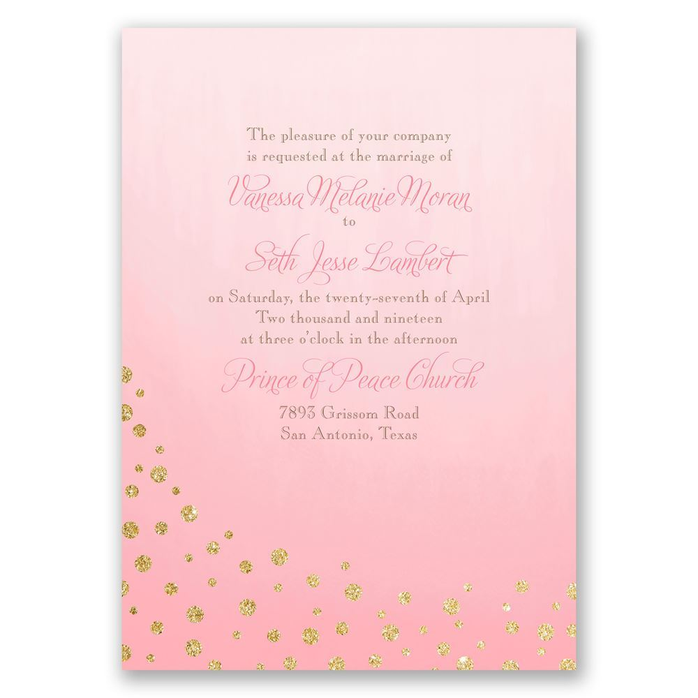 Gold Dust Faux Glitter Invitation with Free Response Postcard