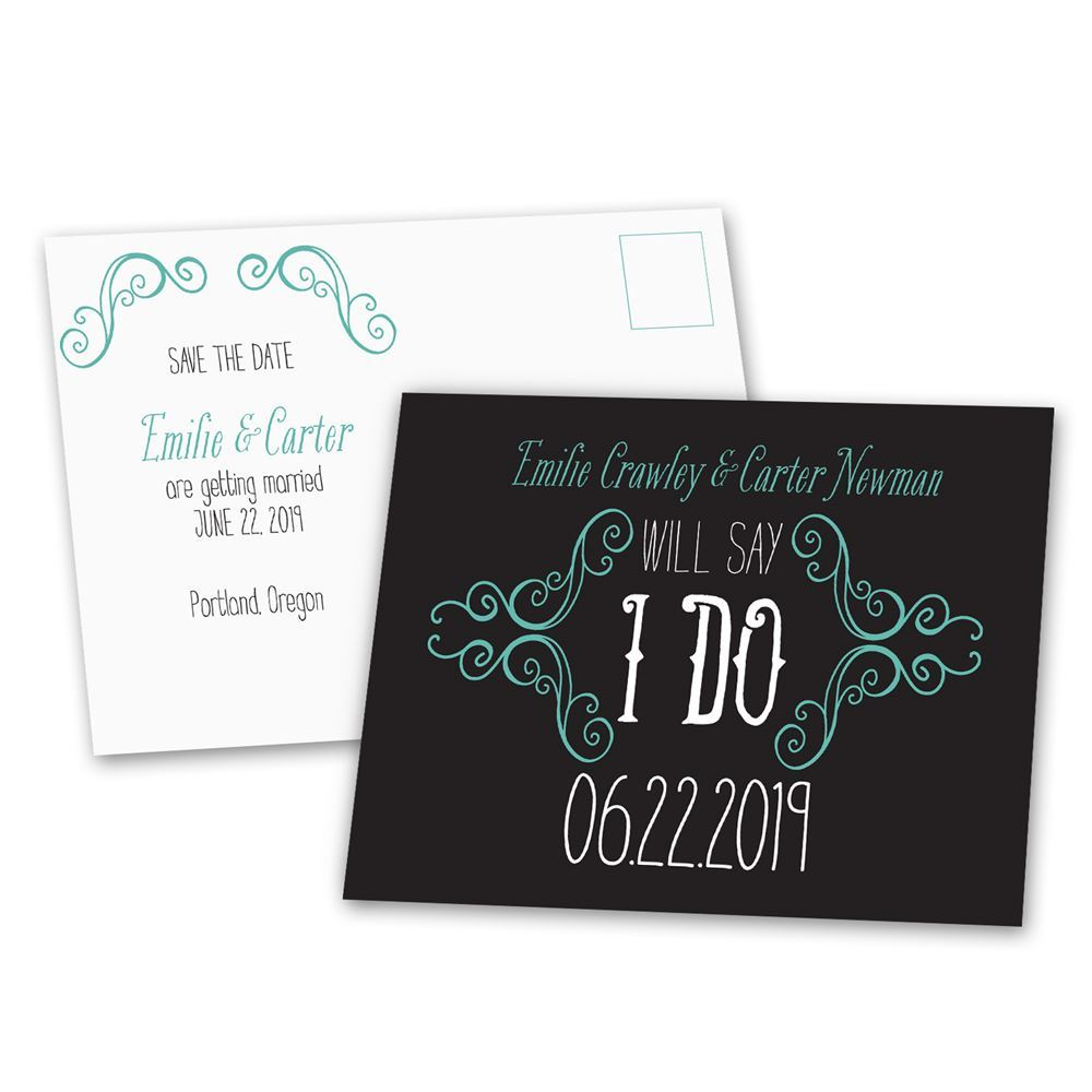 charming scrollwork save the date postcard