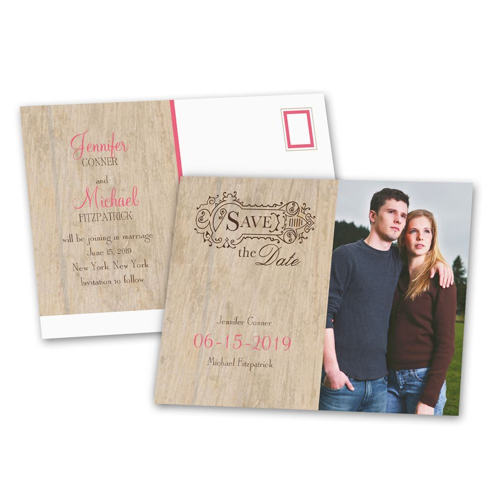 rustic choose your design save the date postcard
