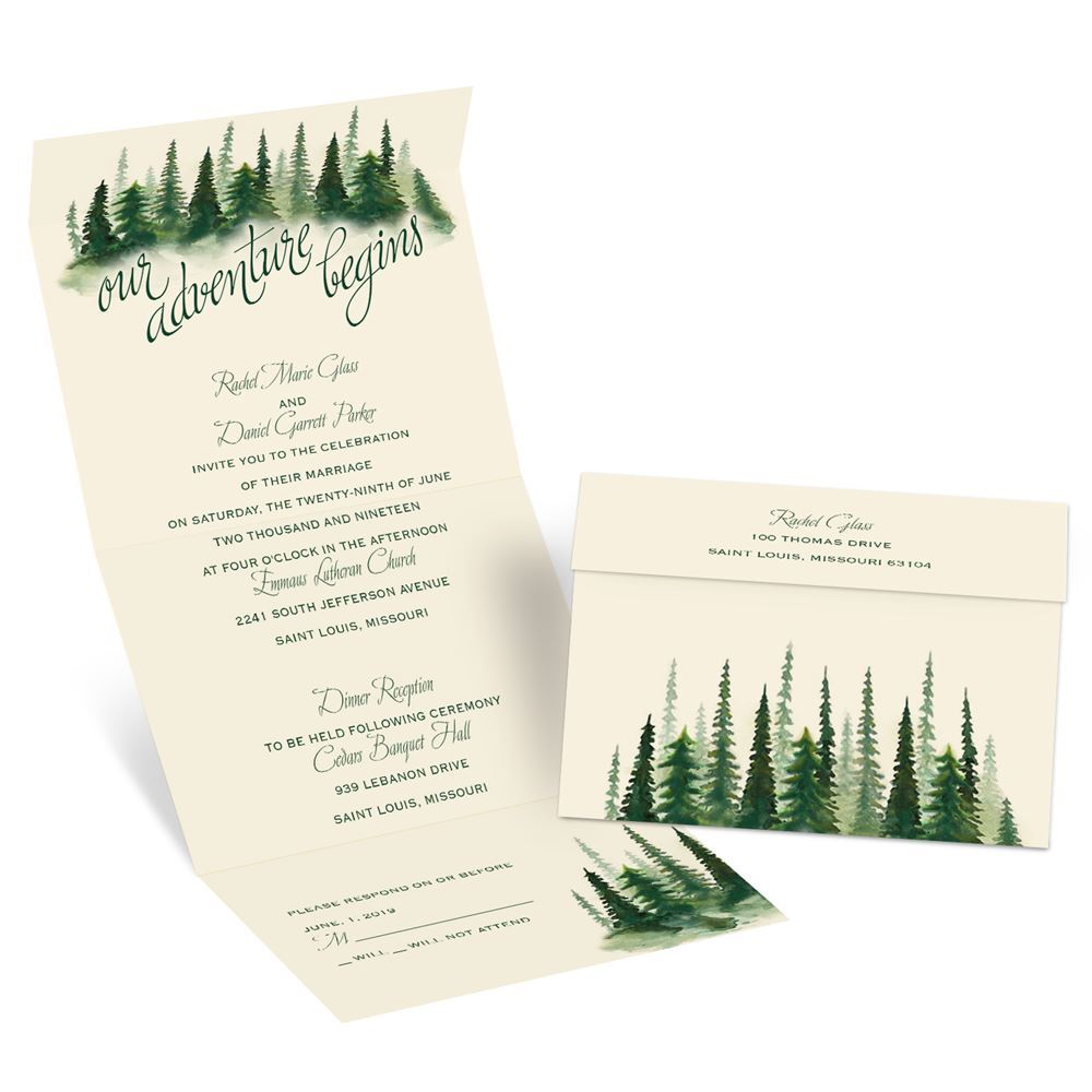 Watercolor Pines Seal and Send Invitation | Ann\'s Bridal Bargains