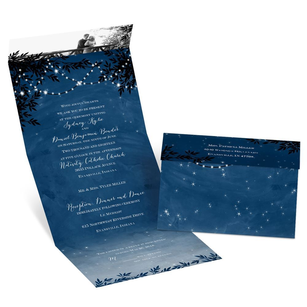 Seal And Send Wedding Invitations.Starry Night Seal And Send Invitation