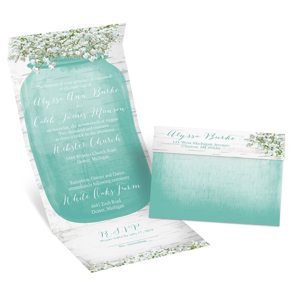 Babys Breath Seal and Send Invitation Anns Bridal Bargains