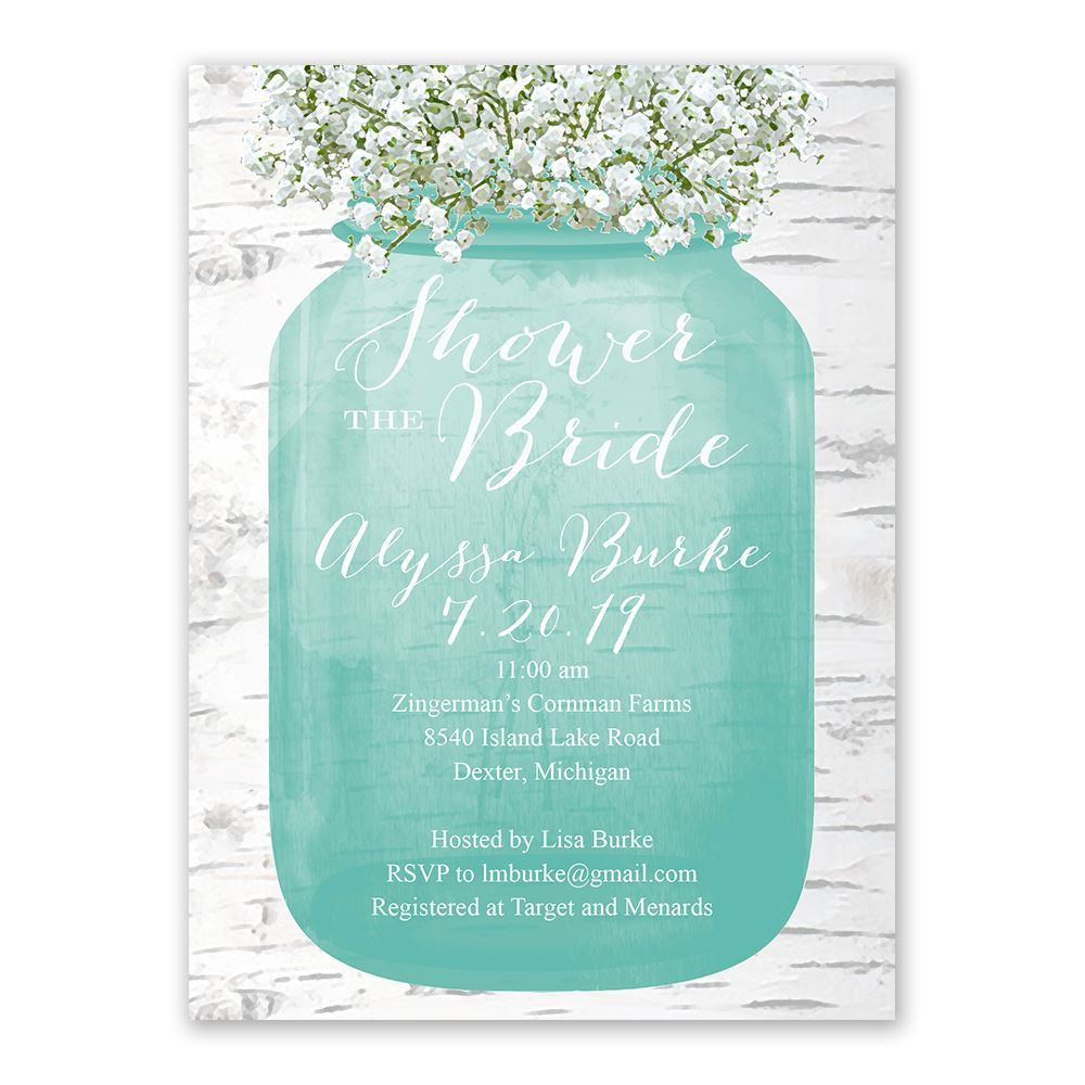 Babys Breath Bridal Shower Invitation Anns Bridal Bargains