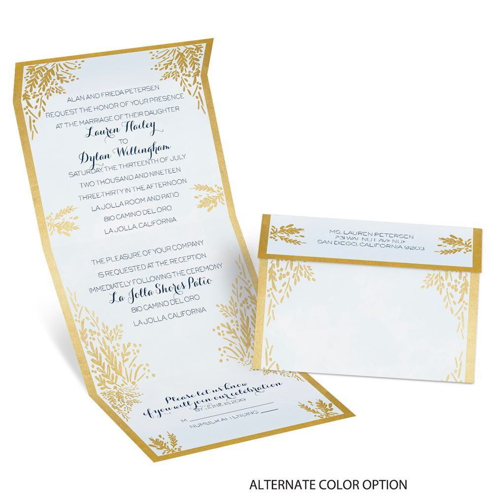 ferns of gold seal and send invitation ann39s bridal bargains With wedding invitation cards to send online