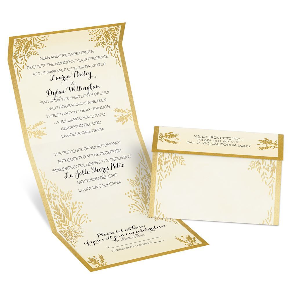 Ferns of Gold Seal and Send Invitation | Ann\'s Bridal Bargains