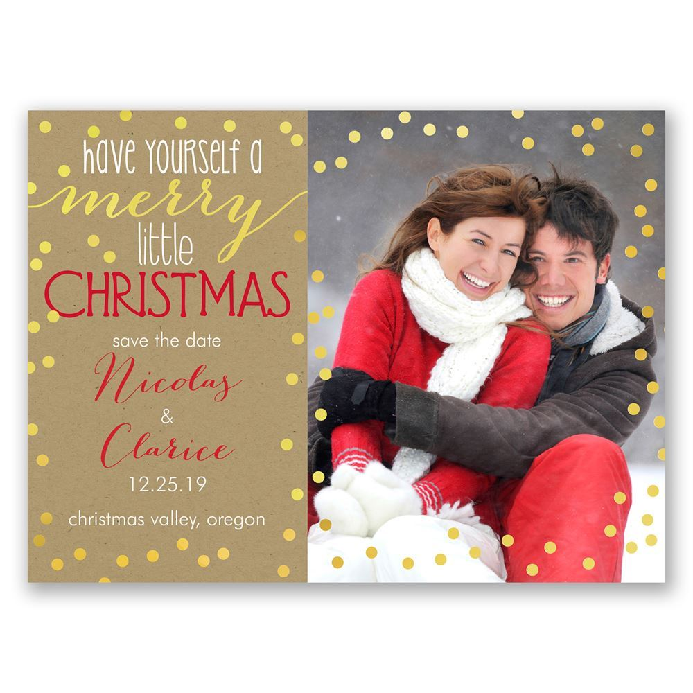 merry christmas holiday card save the date - Whens Christmas