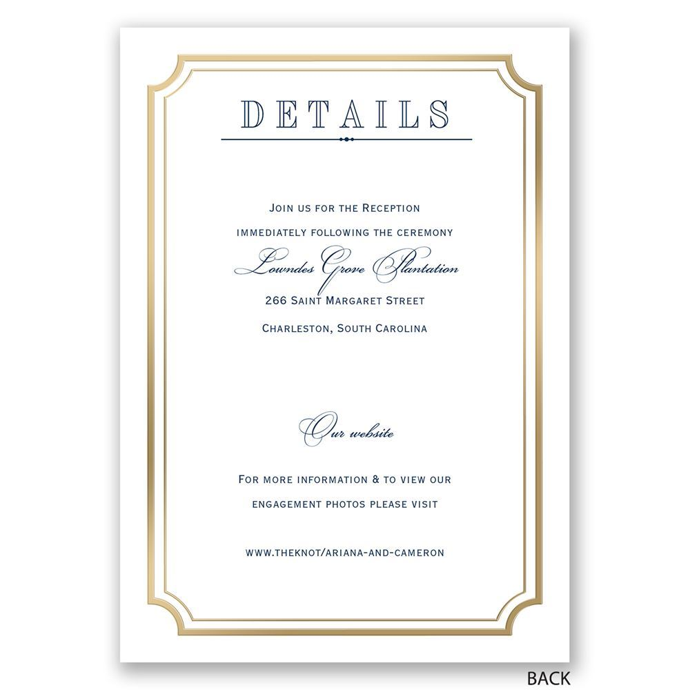 Gold Frame Invitation with Free Respond Postcard Anns Bridal Bargains