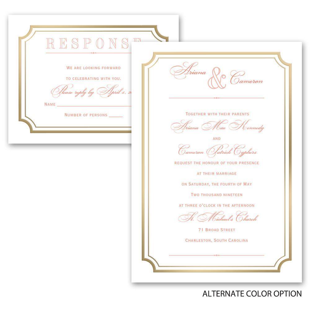 Gold Frame Invitation with Free Respond Postcard   Ann\'s Bridal Bargains