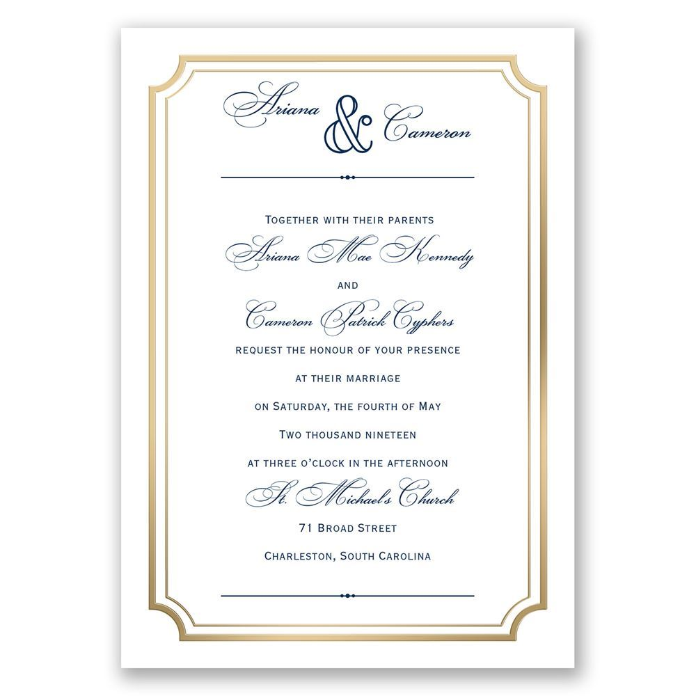 Wedding Invitation Postcard: Gold Frame Wedding Invitation