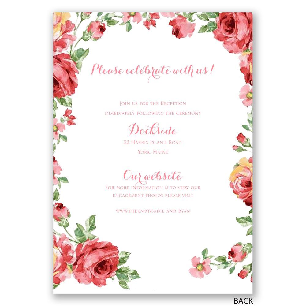 Wedding Invitations With Red Roses: Chalkboard Roses Invitation